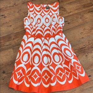 Just Taylor Aline fit and flare orange and white